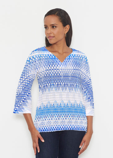 Echo Blue (7657) ~ Banded 3/4 Bell-Sleeve V-Neck Tunic