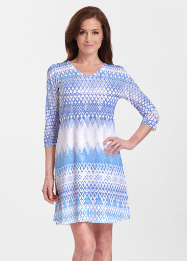 Echo Blue (7657) ~ Classic V-neck Swing Dress