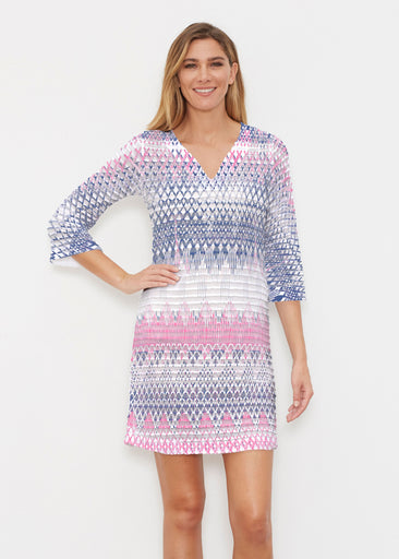 Echo Pink (7658) ~ Banded 3/4 Sleeve Cover-up Dress