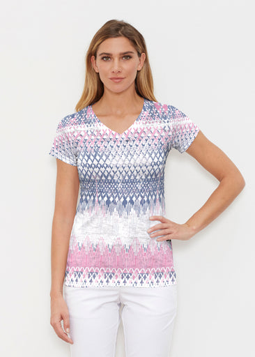 Echo Pink (7658) ~ Signature Cap Sleeve V-Neck Shirt