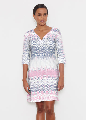 Echo Pink (7658) ~ Classic 3/4 Sleeve Sweet Heart V-Neck Dress