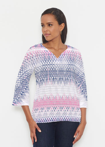 Echo Pink (7658) ~ Banded 3/4 Bell-Sleeve V-Neck Tunic