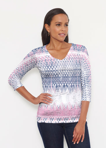 Echo Pink (7658) ~ Signature 3/4 V-Neck Shirt