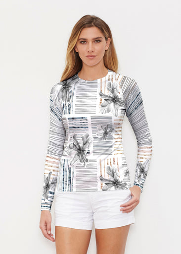 Iris Stripe White (7661) ~ Long Sleeve Rash Guard