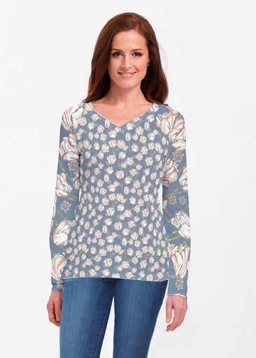 Tulips Multi Navy (7662) ~ Classic V-neck Long Sleeve Top