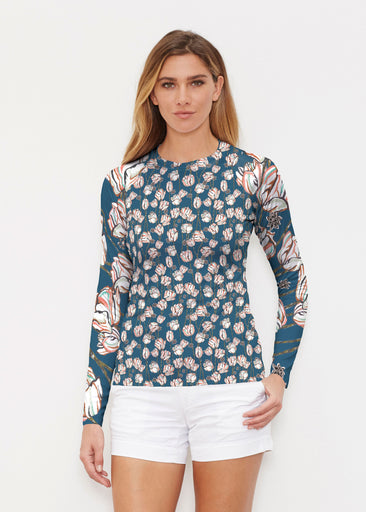 Tulips Multi Navy (7662) ~ Long Sleeve Rash Guard
