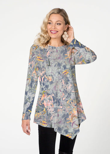 Floral Strokes Navy (7663) ~ Asymmetrical French Terry Tunic