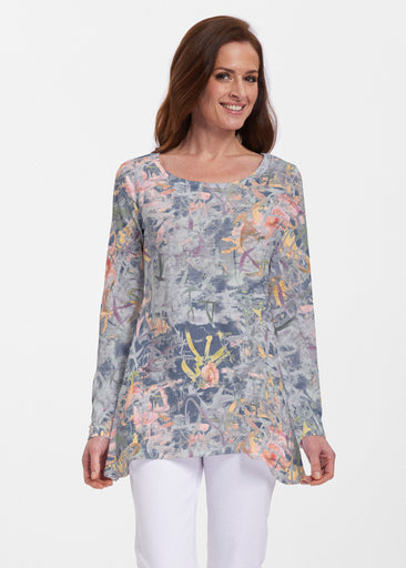 Floral Strokes Navy (7663) ~ Abigail Thermal Tunic