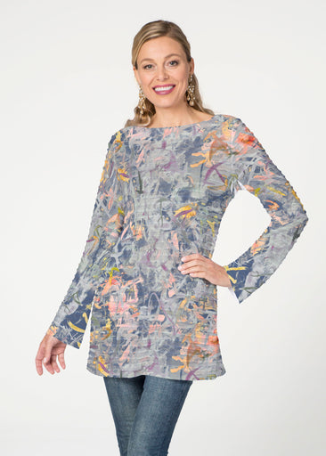 Floral Strokes Navy  (7663) ~ Banded Boatneck Tunic