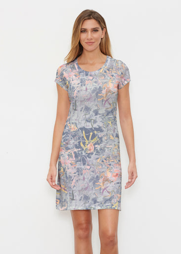 Floral Strokes Navy (7663) ~ Classic Crew Dress