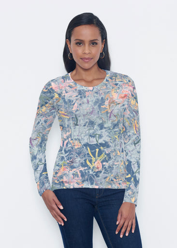 Floral Strokes Navy (7663) ~ Signature Long Sleeve Crew Shirt
