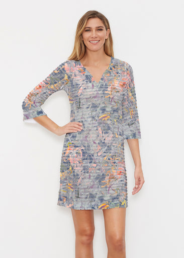 Floral Strokes Navy (7663) ~ Banded 3/4 Sleeve Cover-up Dress