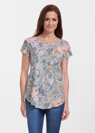 Floral Strokes Navy (7663) ~ Signature Short Sleeve Scoop Neck Flowy Tunic