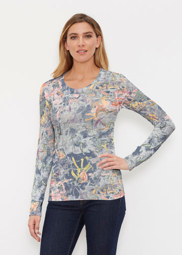 Floral Strokes Navy (7663) ~ Thermal Long Sleeve Crew Shirt