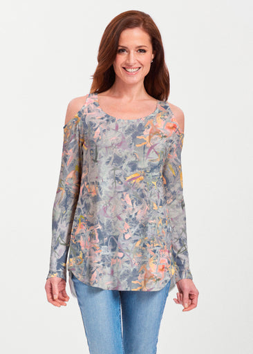 Floral Strokes Navy (7663) ~ Butterknit Cold Shoulder Tunic