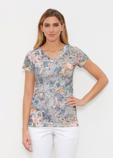 Floral Strokes Navy (7663) ~ Signature Cap Sleeve V-Neck Shirt