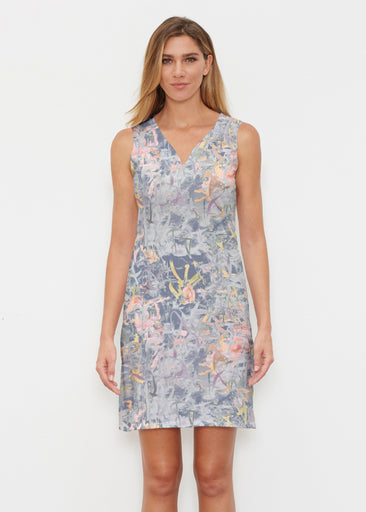 Floral Strokes Navy (7663) ~ Classic Sleeveless Dress