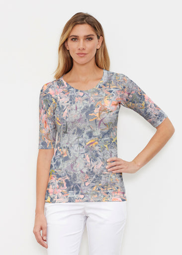 Floral Strokes Navy (7663) ~ Elbow Sleeve Crew Shirt