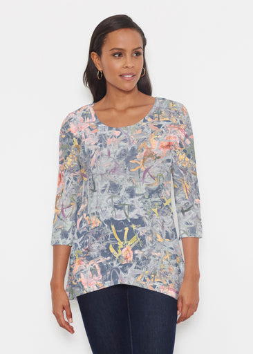 Floral Strokes Navy (7663) ~ Katherine Hi-Lo Thermal Tunic