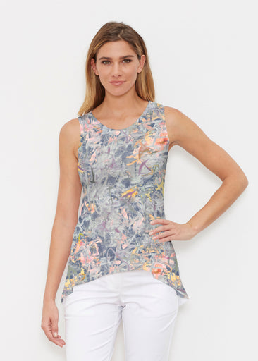 Floral Strokes Navy (7663) ~ High-low Tank