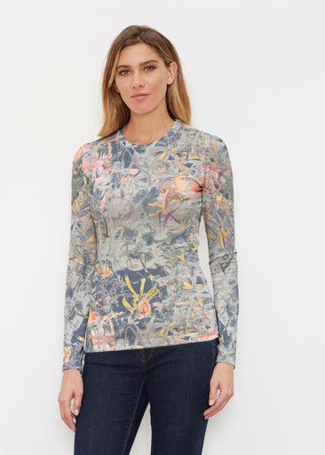 Floral Strokes Navy (7663) ~ Butterknit Long Sleeve Crew Top