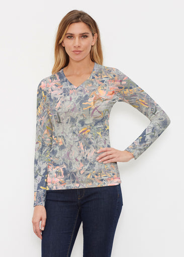 Floral Strokes Navy (7663) ~ Butterknit Long Sleeve V-Neck Top