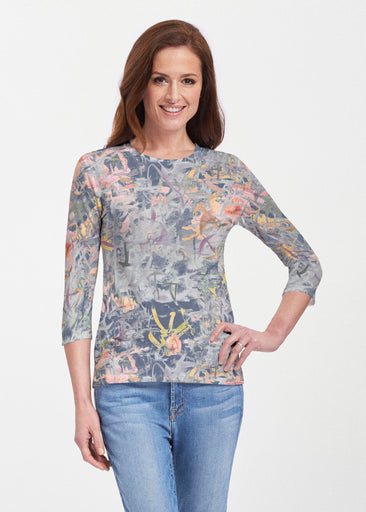Floral Strokes Navy (7663) ~ 3/4 Sleeve Crew