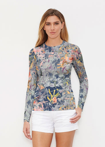 Floral Strokes Navy (7663) ~ Long Sleeve Rash Guard