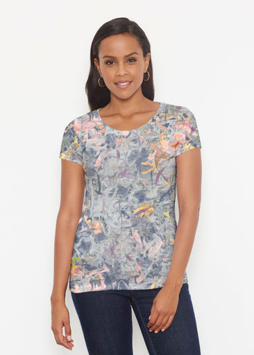 Floral Strokes Navy (7663) ~ Short Sleeve Scoop Shirt