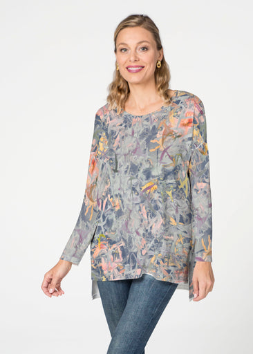 Floral Strokes Navy  (7663) Slouchy Butterknit Top
