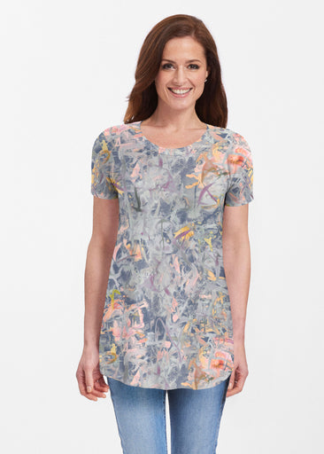 Floral Strokes Navy (7663) ~ Butterknit Short Sleeve Tunic