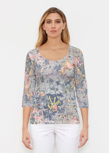 Floral Strokes Navy (7663) ~ Signature 3/4 Sleeve Scoop Shirt