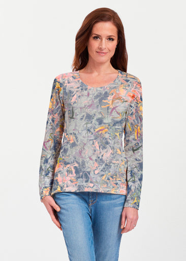 Floral Strokes Navy (7663) ~ Texture Mix Long Sleeve