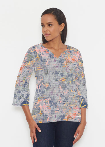 Floral Strokes Navy (7663) ~ Banded 3/4 Bell-Sleeve V-Neck Tunic