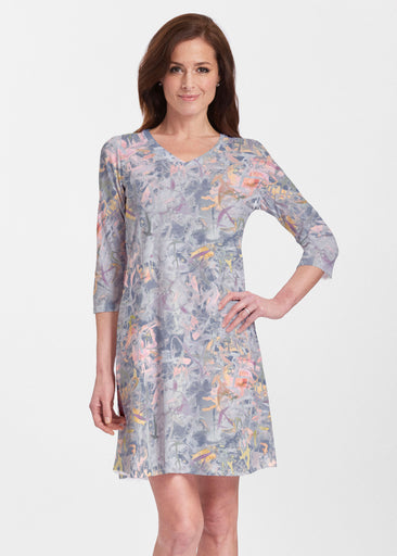 Floral Strokes Navy (7663) ~ Classic V-neck Swing Dress
