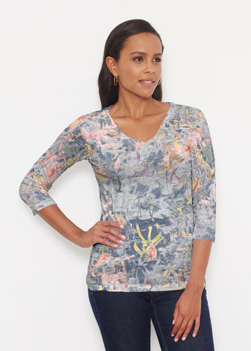 Floral Strokes Navy (7663) ~ Signature 3/4 V-Neck Shirt