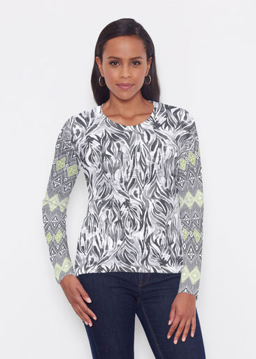 Watercolor Zebra (7664) ~ Signature Long Sleeve Crew Shirt