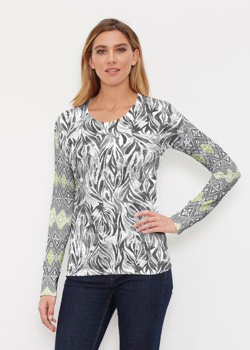 Watercolor Zebra (7664) ~ Thermal Long Sleeve Crew Shirt