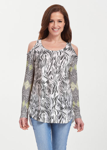 Watercolor Zebra (7664) ~ Butterknit Cold Shoulder Tunic