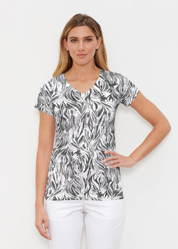 Watercolor Zebra (7664) ~ Signature Cap Sleeve V-Neck Shirt