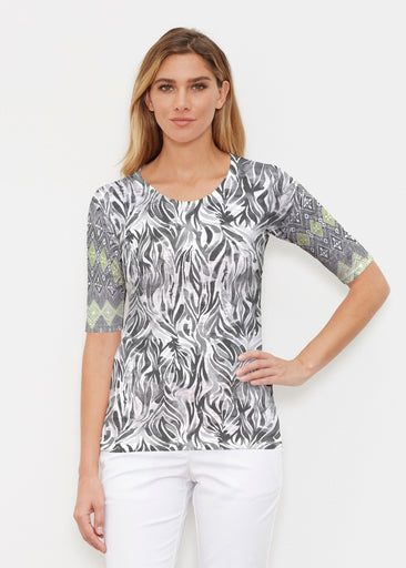 Watercolor Zebra (7664) ~ Elbow Sleeve Crew Shirt