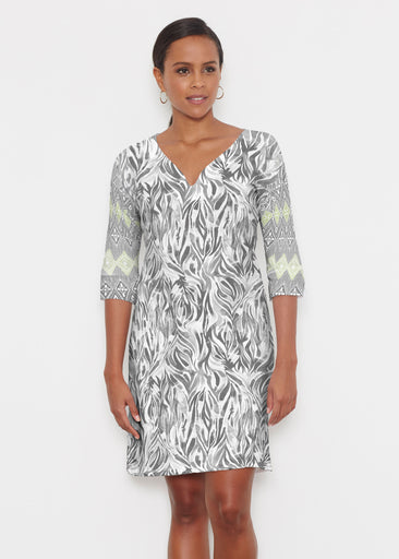 Watercolor Zebra (7664) ~ Classic 3/4 Sleeve Sweet Heart V-Neck Dress