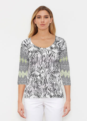 Watercolor Zebra (7664) ~ Signature 3/4 Sleeve Scoop Shirt