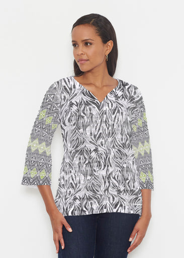 Watercolor Zebra (7664) ~ Banded 3/4 Bell-Sleeve V-Neck Tunic