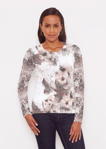 Petal Bliss White (7665) ~ Signature Long Sleeve Crew Shirt