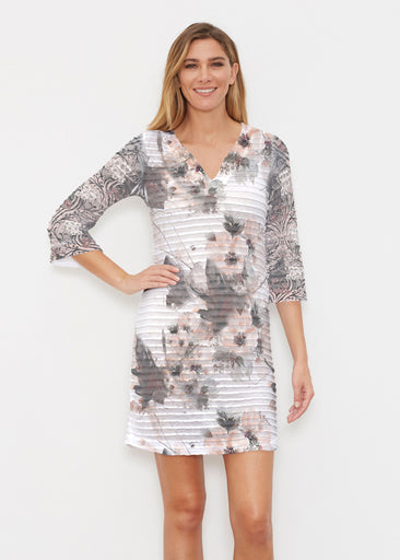 Petal Bliss White (7665) ~ Banded 3/4 Sleeve Cover-up Dress