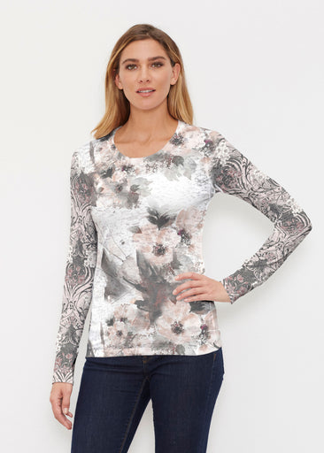 Petal Bliss White (7665) ~ Thermal Long Sleeve Crew Shirt