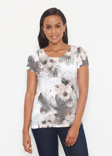 Petal Bliss White (7665) ~ Short Sleeve Scoop Shirt