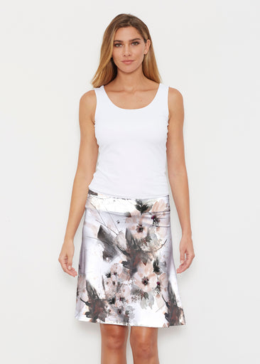 Petal Bliss White (7665) ~ Silky Brenda Skirt 21 inch