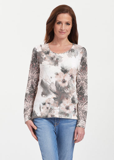Petal Bliss White (7665) ~ Texture Mix Long Sleeve